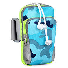 Universal Gym Sport Running Jog Arm Band Strap Case B23 for Alcatel 3X Blue