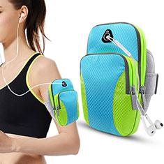 Universal Gym Sport Running Jog Arm Band Strap Case Diamond B21 for Alcatel 3X Sky Blue