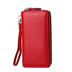 Universal Leather Wristlet Wallet Handbag Case H21 for Apple iPhone 12 Red