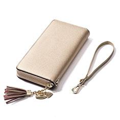 Universal Leather Wristlet Wallet Handbag Case H24 for Apple iPhone 12 Gold