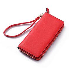 Universal Leather Wristlet Wallet Handbag Case H26 for Apple iPhone 12 Red