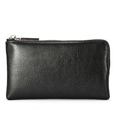 Universal Leather Wristlet Wallet Handbag Case H27 for Apple iPhone 12 Black