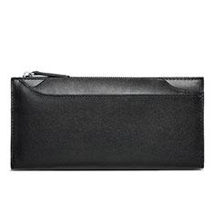 Universal Leather Wristlet Wallet Handbag Case H30 for Apple iPhone 12 Black