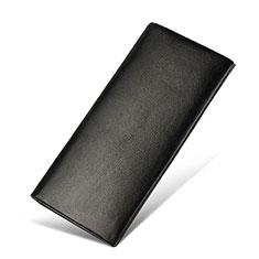 Universal Leather Wristlet Wallet Handbag Case H31 for Apple iPhone 12 Black