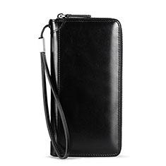 Universal Leather Wristlet Wallet Handbag Case H32 for Apple iPhone 12 Black