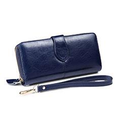 Universal Leather Wristlet Wallet Handbag Case H33 for Apple iPhone 12 Blue