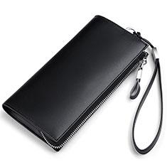 Universal Leather Wristlet Wallet Handbag Case H34 for Apple iPhone 12 Black