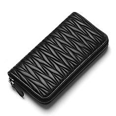 Universal Leather Wristlet Wallet Handbag Case H35 for Apple iPhone 12 Black