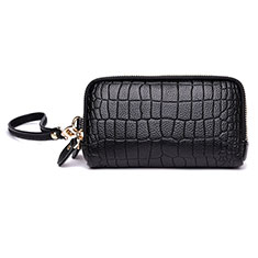 Universal Leather Wristlet Wallet Handbag Case K09 Black