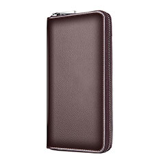 Universal Leather Wristlet Wallet Handbag Case K18 for Apple iPhone 12 Brown