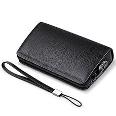 Universal Leather Wristlet Wallet Handbag Case K19 for Apple iPhone 12 Black