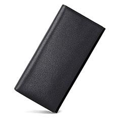 Universal Lichee Pattern Leather Wristlet Wallet Handbag Case for Apple iPhone 12 Black