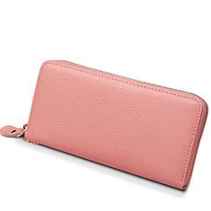 Universal Lichee Pattern Leather Wristlet Wallet Handbag Case H25 for Apple iPhone 12 Pink
