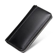 Universal Lichee Pattern Leather Wristlet Wallet Handbag Case H36 for Apple iPhone 12 Black