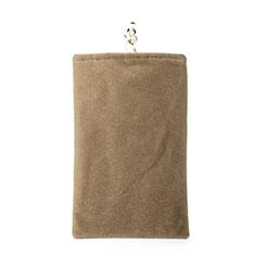 Universal Sleeve Velvet Bag Case Pocket for Alcatel 3L Brown
