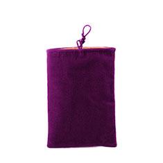 Universal Sleeve Velvet Bag Case Pocket for Alcatel 3L Purple