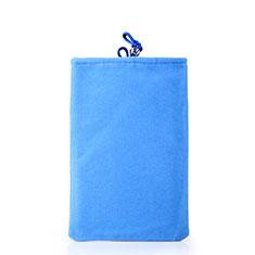 Universal Sleeve Velvet Bag Case Pocket for Alcatel 3L Sky Blue