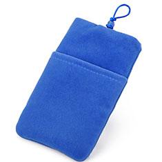 Universal Sleeve Velvet Bag Case Tow Pocket Blue