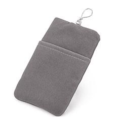 Universal Sleeve Velvet Bag Case Tow Pocket for Alcatel 3L Gray