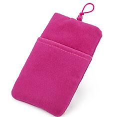 Universal Sleeve Velvet Bag Case Tow Pocket for Alcatel 3L Hot Pink