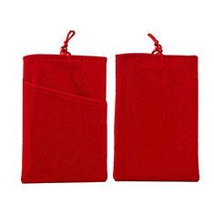 Universal Sleeve Velvet Bag Cover Tow Pocket for Alcatel 3L Red