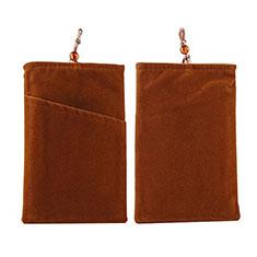 Universal Sleeve Velvet Bag Pouch Tow Pocket for Alcatel 3L Brown