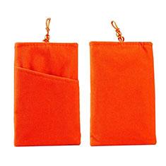 Universal Sleeve Velvet Bag Pouch Tow Pocket for Alcatel 3L Orange