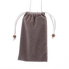 Universal Sleeve Velvet Bag Slip Case for Alcatel 3L Gray