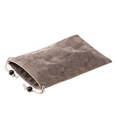 Universal Sleeve Velvet Bag Slip Case S05 for Xiaomi Redmi 9 Prime India Brown