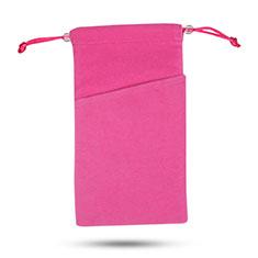 Universal Sleeve Velvet Bag Slip Case Tow Pocket for Alcatel 3L Hot Pink