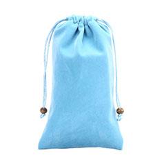 Universal Sleeve Velvet Bag Slip Pouch for Alcatel 3L Sky Blue