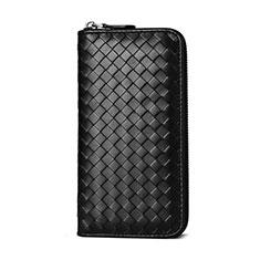 Universal Woven Pattern Leather Wristlet Wallet Handbag Case for Apple iPhone 12 Black