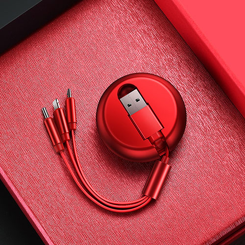 Charger Lightning USB Data Cable Charging Cord and Android Micro USB C09 for Apple iPhone SE (2020) Red