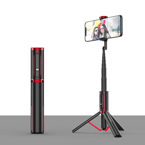Extendable Folding Handheld Selfie Stick Tripod Bluetooth Remote Shutter Universal T26 Red and Black