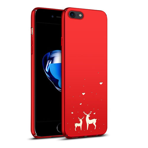 Hard Rigid Plastic Case Reindeer Cover for Apple iPhone SE (2020) Red