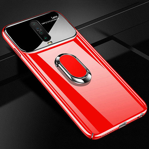 Hard Rigid Plastic Matte Finish Case Cover with Magnetic Finger Ring Stand A02 for Xiaomi Redmi K30 5G Red