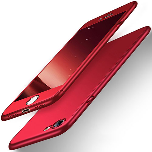 Hard Rigid Plastic Matte Finish Front and Back Case 360 Degrees for Apple iPhone SE (2020) Red