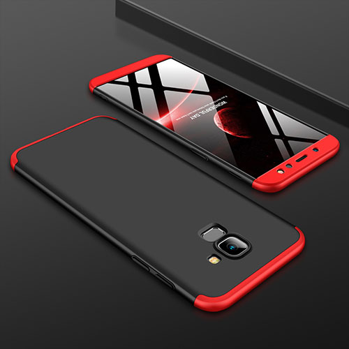 Hard Rigid Plastic Matte Finish Front and Back Cover Case 360 Degrees for Samsung Galaxy A6 (2018) Red and Black