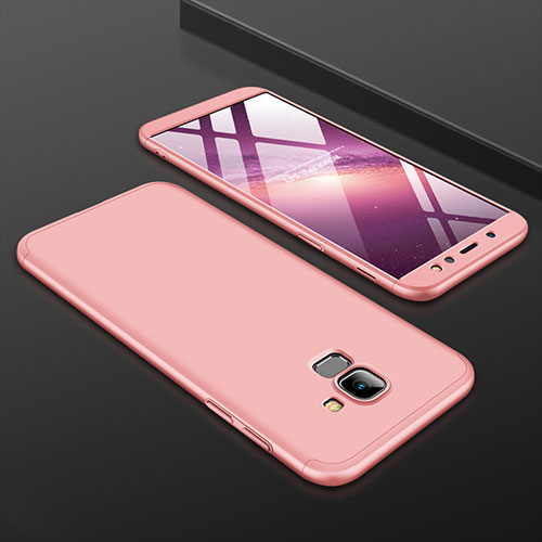 Hard Rigid Plastic Matte Finish Front and Back Cover Case 360 Degrees for Samsung Galaxy A6 (2018) Rose Gold