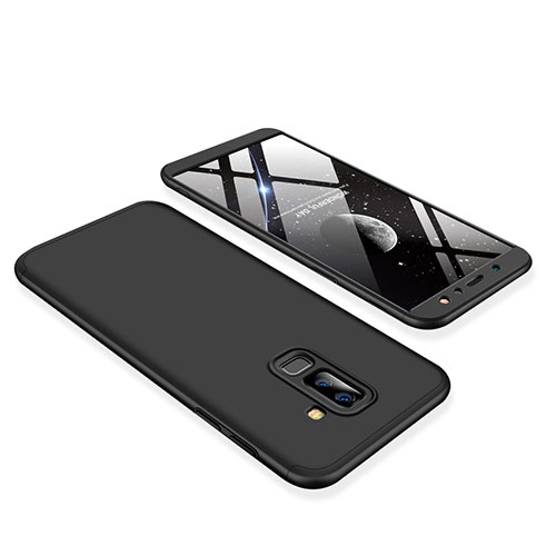 Hard Rigid Plastic Matte Finish Front and Back Cover Case 360 Degrees for Samsung Galaxy A6 Plus Black