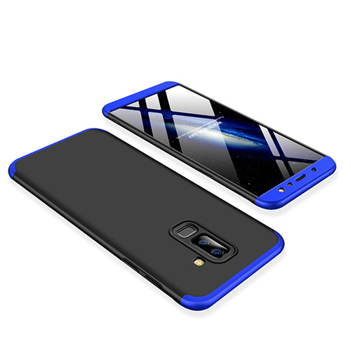 Hard Rigid Plastic Matte Finish Front and Back Cover Case 360 Degrees for Samsung Galaxy A6 Plus Blue and Black