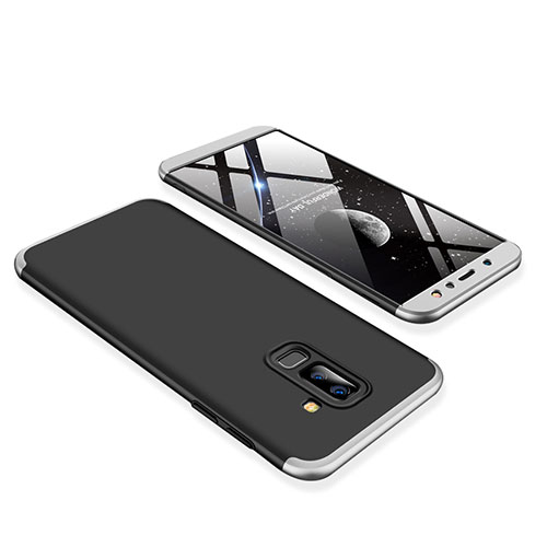 Hard Rigid Plastic Matte Finish Front and Back Cover Case 360 Degrees for Samsung Galaxy A6 Plus Silver