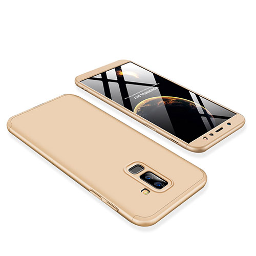 Hard Rigid Plastic Matte Finish Front and Back Cover Case 360 Degrees for Samsung Galaxy A9 Star Lite Gold
