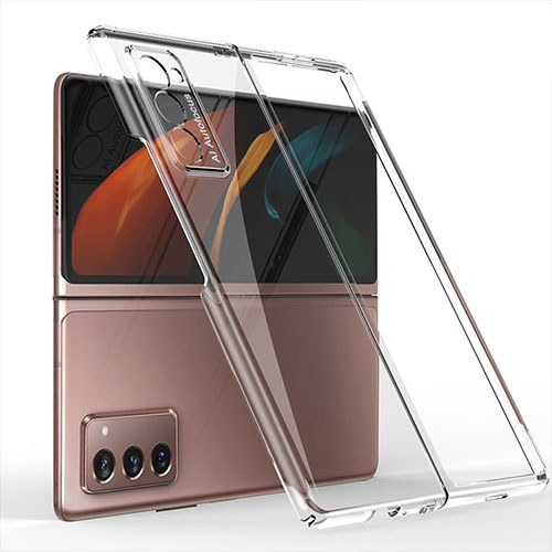 Hard Rigid Plastic Matte Finish Front and Back Cover Case 360 Degrees for Samsung Galaxy Z Fold2 5G Clear