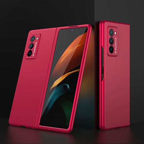 Hard Rigid Plastic Matte Finish Front and Back Cover Case 360 Degrees for Samsung Galaxy Z Fold2 5G Red