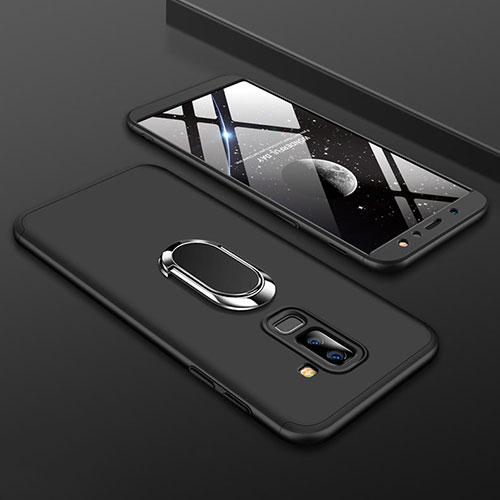 Hard Rigid Plastic Matte Finish Front and Back Cover Case 360 Degrees with Finger Ring Stand for Samsung Galaxy A6 Plus Black