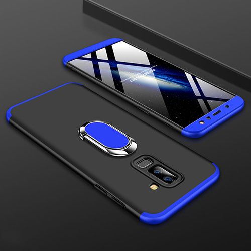 Hard Rigid Plastic Matte Finish Front and Back Cover Case 360 Degrees with Finger Ring Stand for Samsung Galaxy A6 Plus Blue and Black