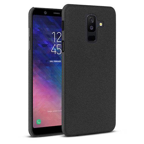 Hard Rigid Plastic Quicksand Cover Case for Samsung Galaxy A6 Plus Black