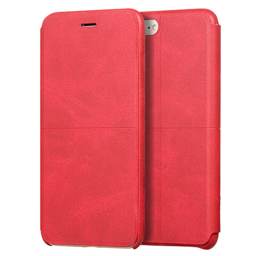 Leather Case Stands Flip Cover for Apple iPhone SE (2020) Red