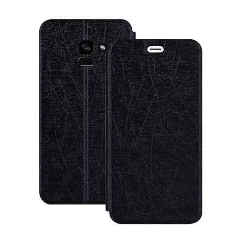 Leather Case Stands Flip Cover for Samsung Galaxy A5 (2018) A530F Black